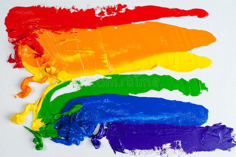 Homosexuelle Stolzmarkierungsfahne des Regenbogens lizenzfreies stockfoto