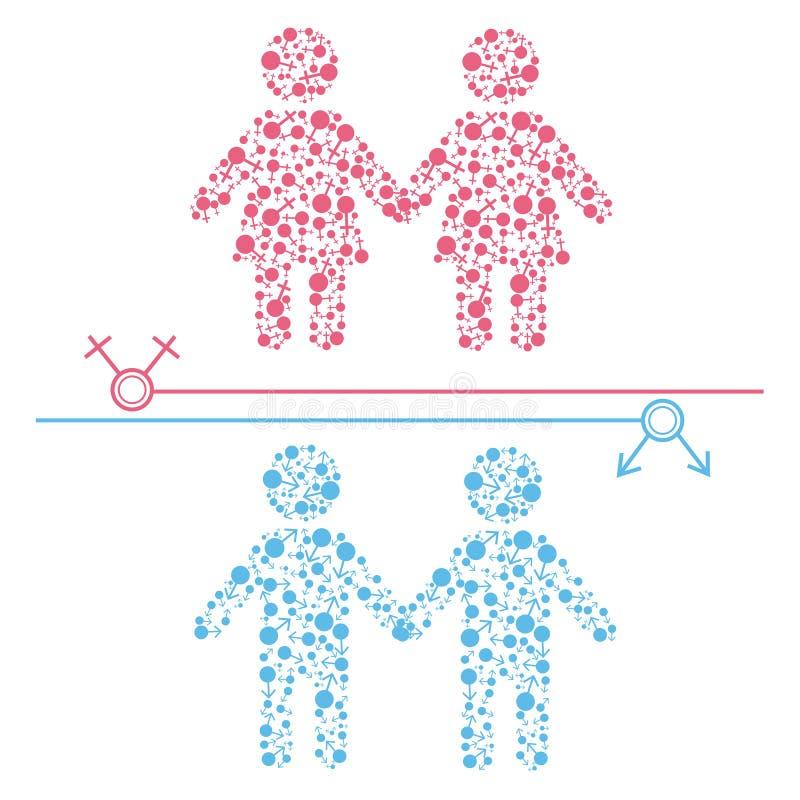 Homosexuelle und Lesbenpaare vektor abbildung