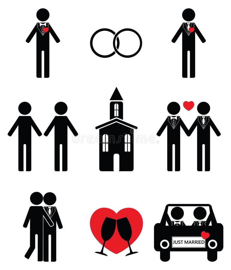 Homosexueller Mann, der 2 Ikonen eingestellt heiratet lizenzfreie abbildung