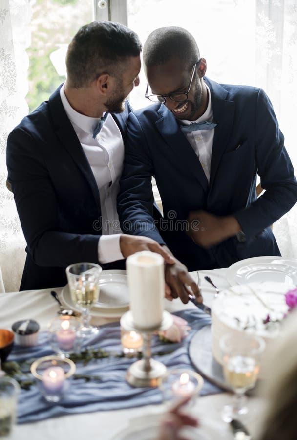 Homosexueller Paar-Ausschnitt-Kuchen zusammen auf Hochzeitsempfang lizenzfreie stockfotos