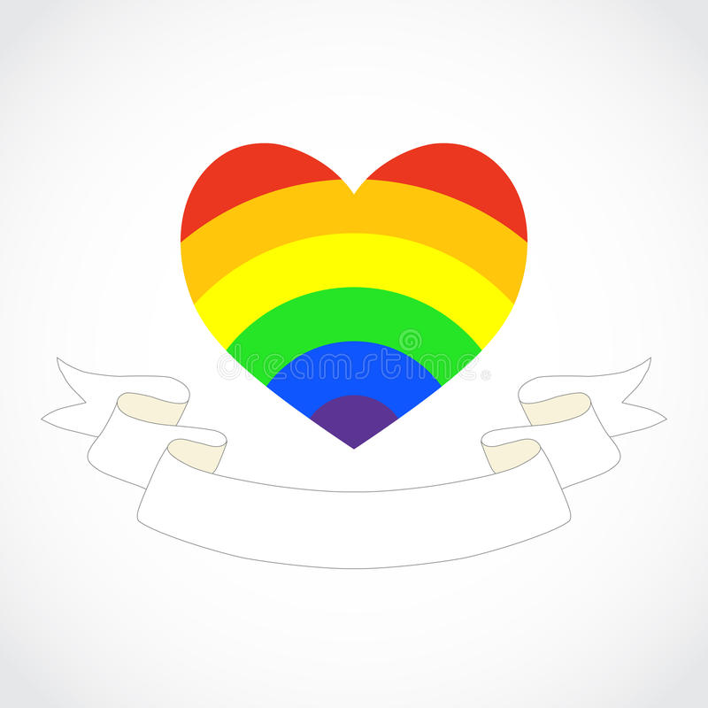 Homosexuelles Regenbogenherz lizenzfreie abbildung