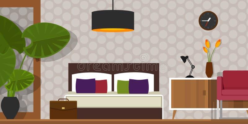Homr мебели дома вектора спальни внутреннее иллюстрация вектора
