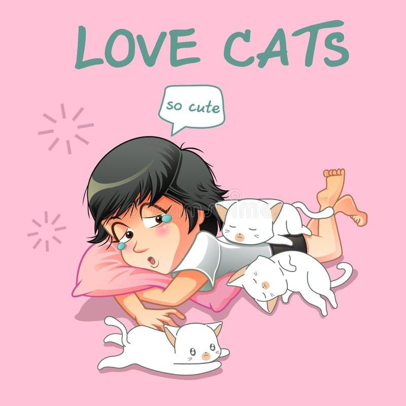 Hon älskar små katter vektor illustrationer