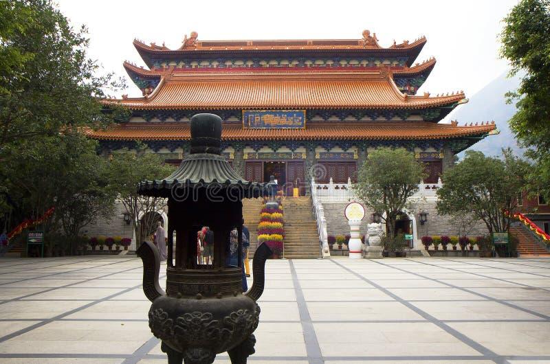 Hon Kong O monastério do po Lin na ilha de Lantau foto de stock royalty free