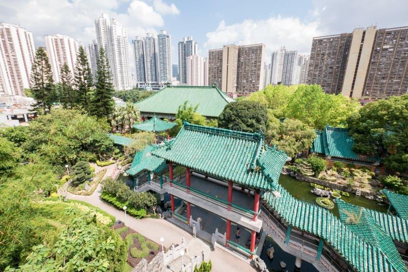 Hon Kong Ori?ntatiepuntmening van Tuin in de tempel van de Zonde van Wong tai stock foto