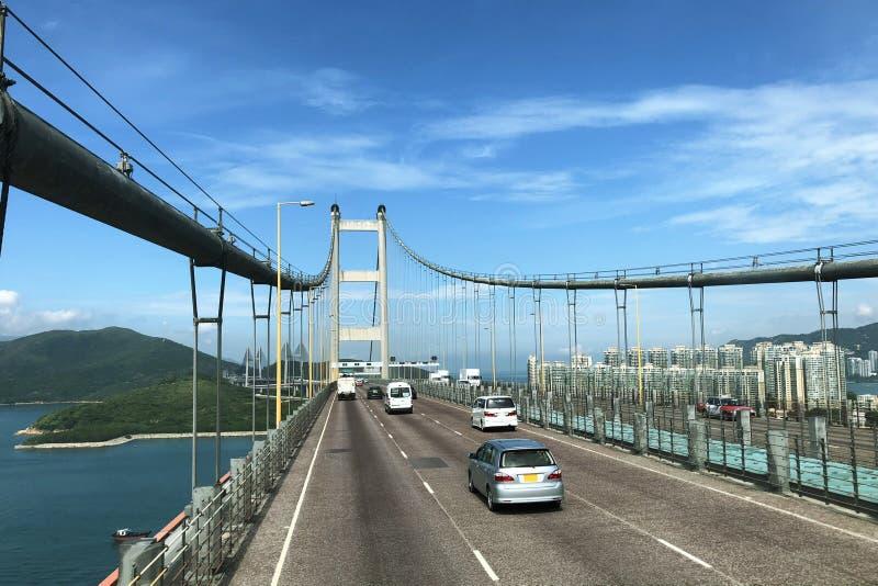 Hon Kong Tsing Ma Bridge is één van langste spanwijdtehangbruggen in de wereld stock foto's