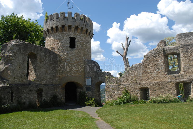 Honberg Castle Ruin. Is located in Tuttlingen, Germany. It is a beautiful ancient ruin site on a hill overlooking the town stock photo