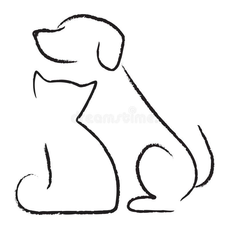 Hond & Kat stock illustratie