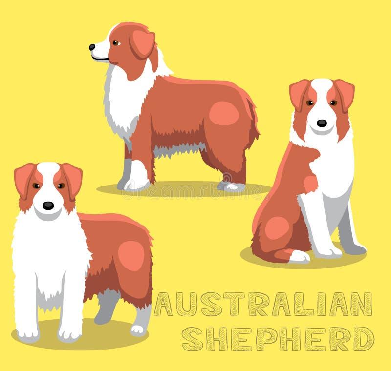 Hond Australische Herder Cartoon Vector Illustration royalty-vrije illustratie
