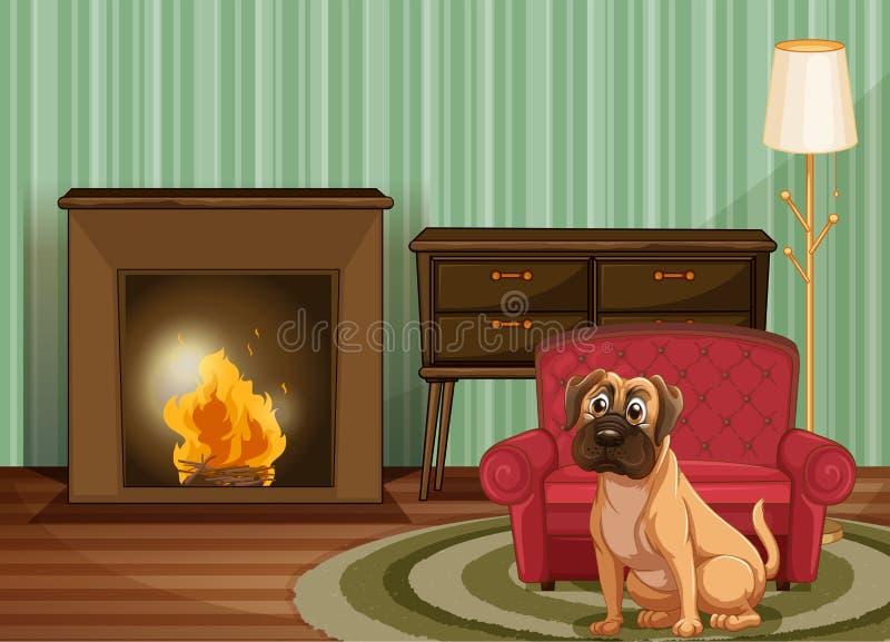 Hond binnen royalty-vrije illustratie