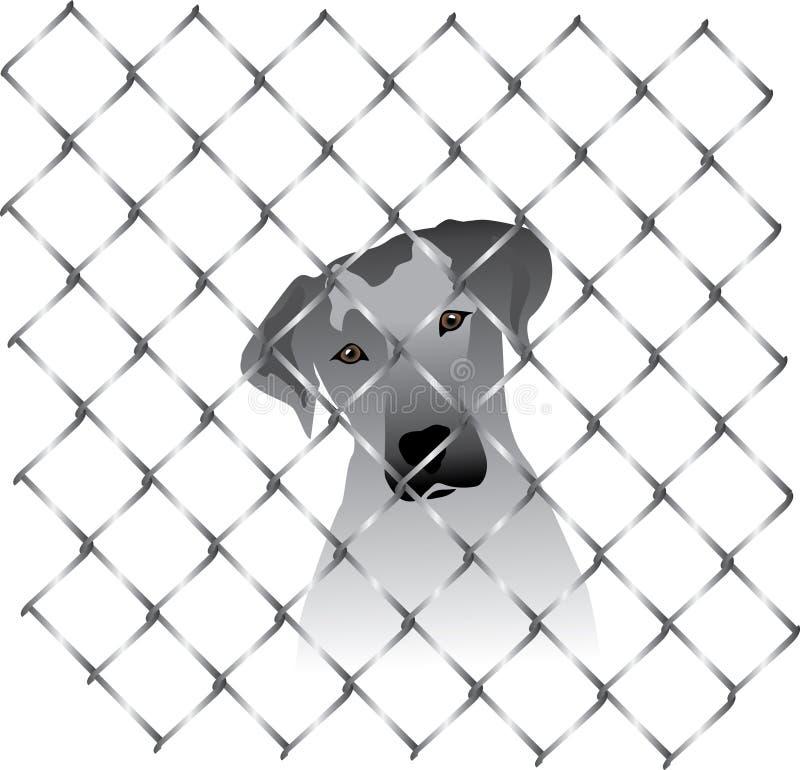 Hond binnen een omheining of een kooi royalty-vrije illustratie