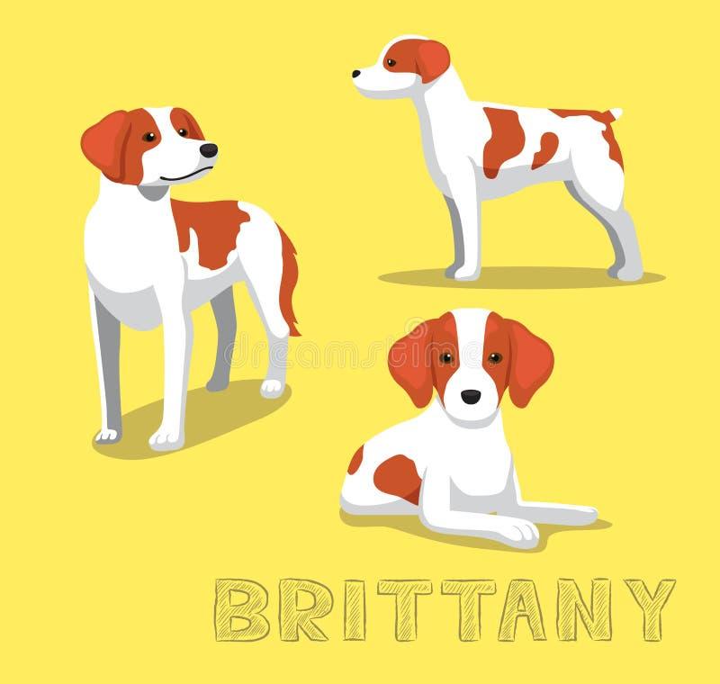 Hond Brittany Cartoon Vector Illustration royalty-vrije illustratie