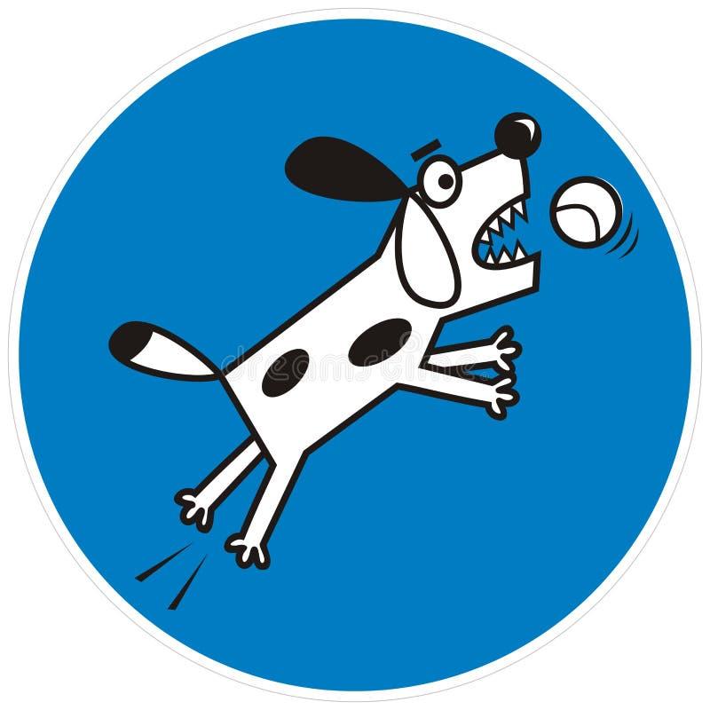 Hond in cirkel blauw kader, etiket, vectorpictogram vector illustratie