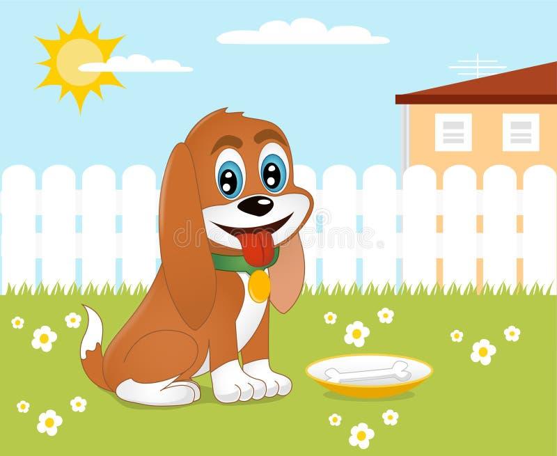 Hond in de tuin vector illustratie