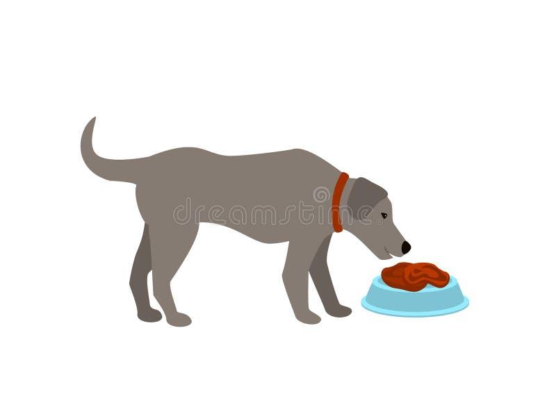 Hond die de ruwe geïsoleerde vectorillustratie van het voedselvlees beeldverhaal eten royalty-vrije illustratie