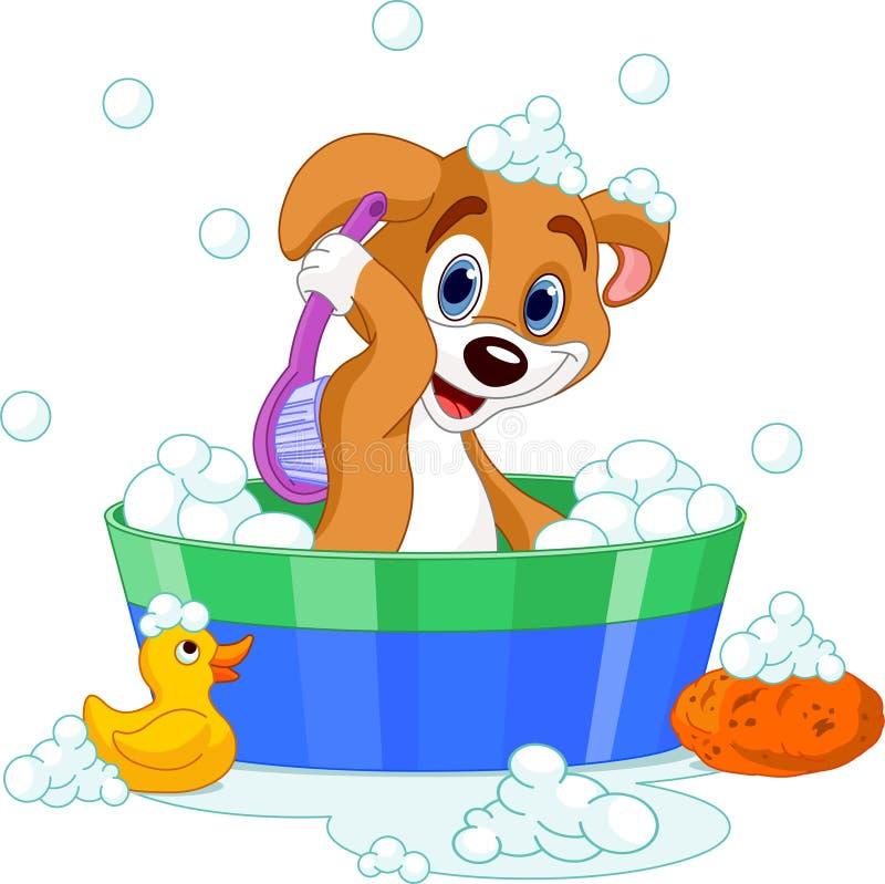 Hond die een bad heeft vector illustratie