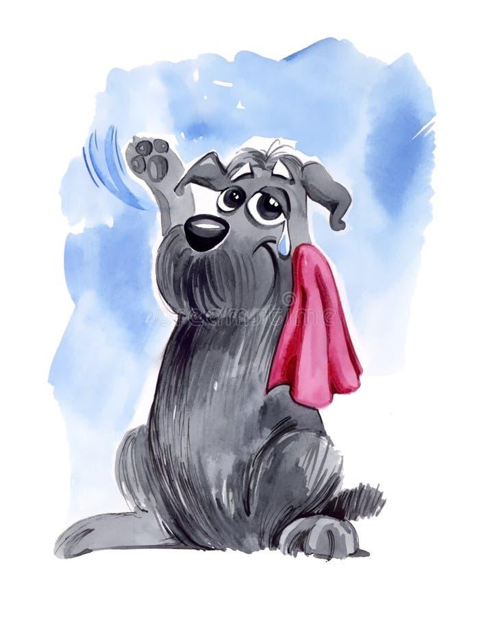 Hond die hello op afscheid golft royalty-vrije illustratie