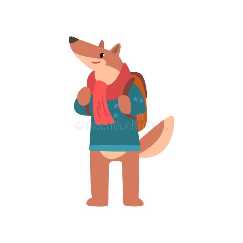 Hond die met rugzak, dierlijk beeldverhaalkarakter op vakantie vectorillustratie reizen op een witte achtergrond vector illustratie
