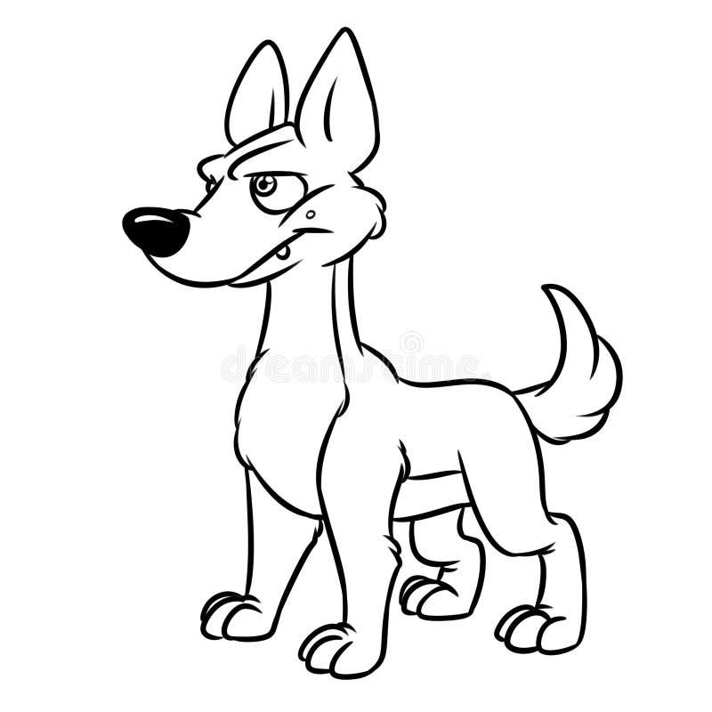 Hond die zorgvuldig dierlijke de illustratie kleurende pagina van het karakterbeeldverhaal kijken stock illustratie