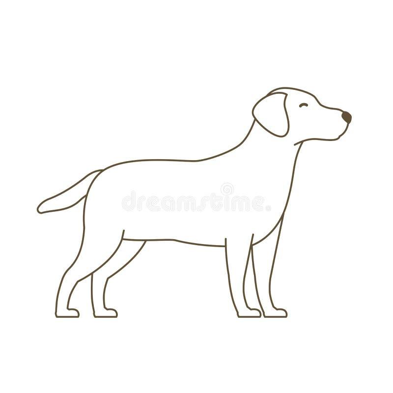 Hond dierlijke huisdieren Achter mening van een puppyhond op een grijze achtergrond Wit pictogram De lijn vectorillustratie van d vector illustratie