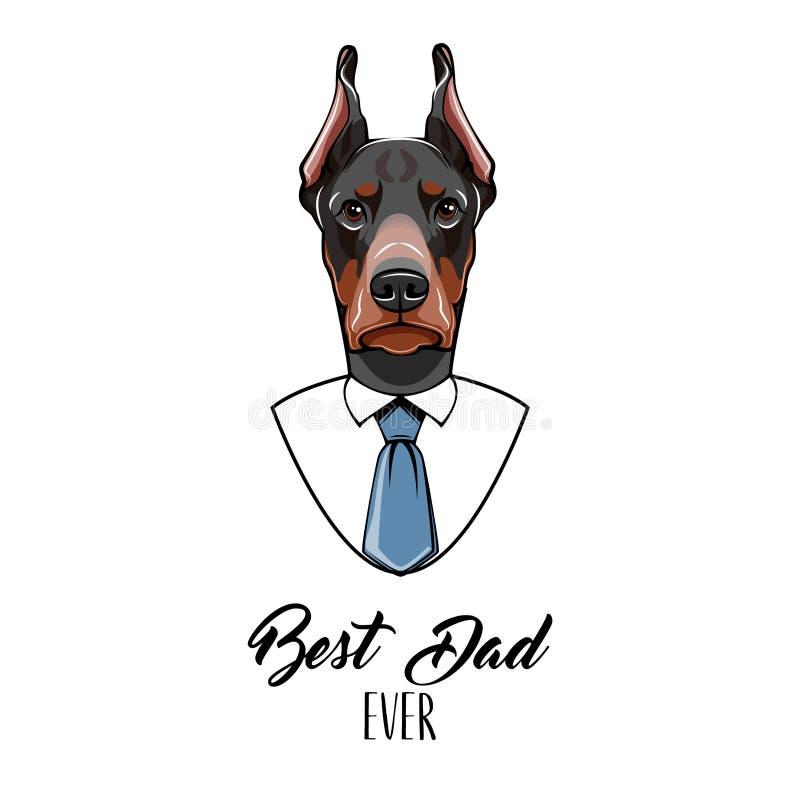 Hond Doberman De kaart van de de daggroet van vaders Beste papa ooit tekst Dobermannportret Wit overhemd, Blauwe band Papagift Ve royalty-vrije illustratie