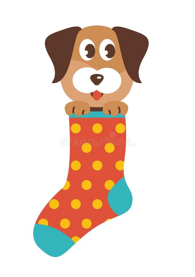 Hond in een sok stock illustratie