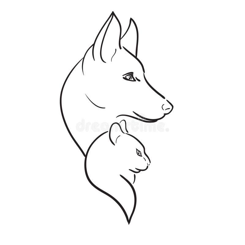 Hond en Cat Silhouettes. Vectorschets royalty-vrije illustratie