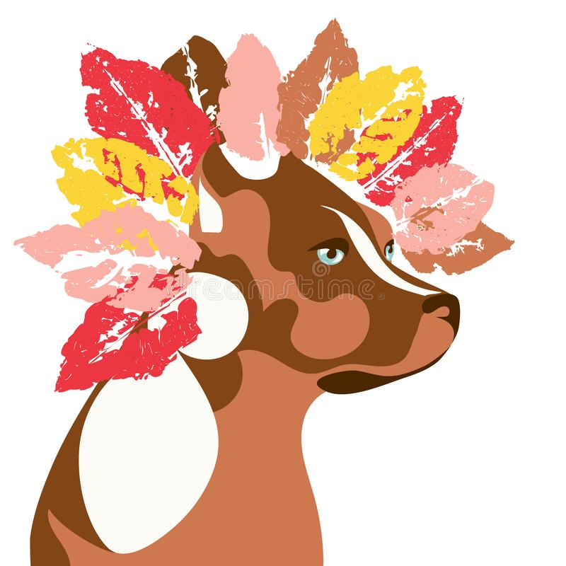 Hond en de herfst stock illustratie