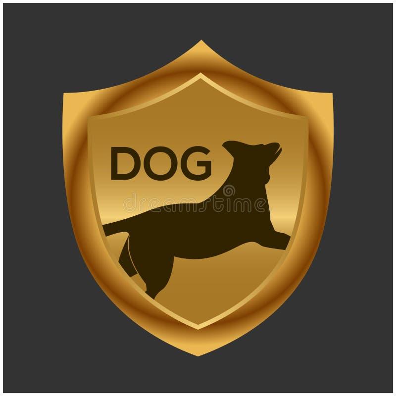 Hond en gouden schild voorraadpictogram Vector illustratie royalty-vrije illustratie