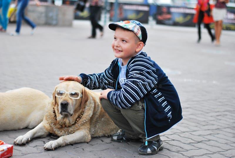 Hond en jongen stock foto's