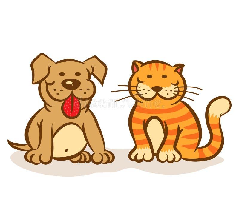 Hond en kat stock illustratie