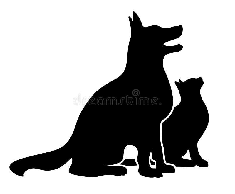 Hond en kat silhouette royalty-vrije stock foto