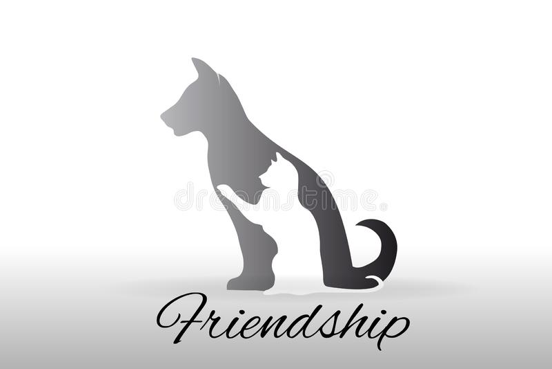 Hond en katten de vector van het embleempictogram royalty-vrije illustratie
