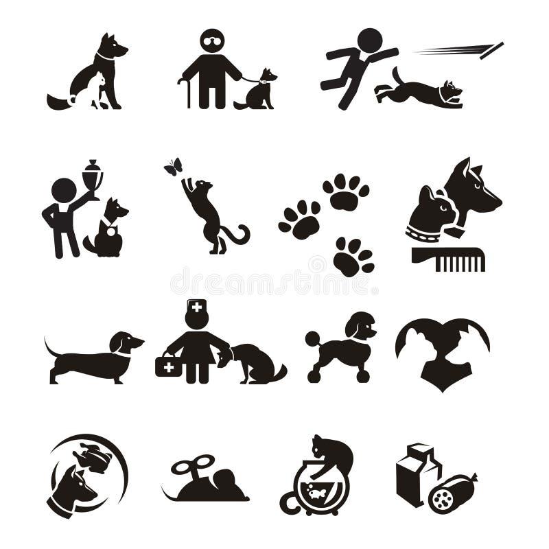 Hond en Katten geplaatste pictogrammen royalty-vrije illustratie