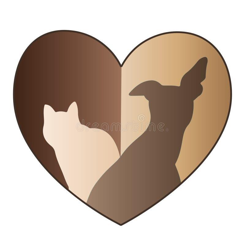 Hond en Katten het gouden embleem van het liefdehart royalty-vrije illustratie