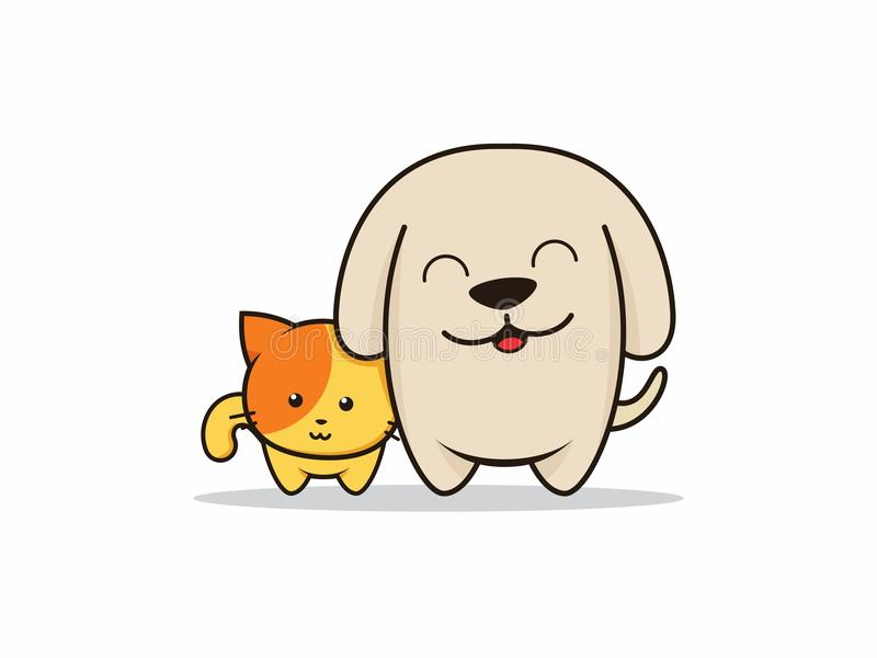 Hond en kattenbeeldverhaalillustrator stock illustratie