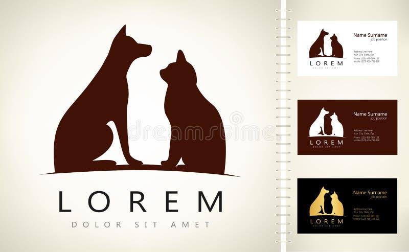 Hond en Kattenembleem royalty-vrije illustratie