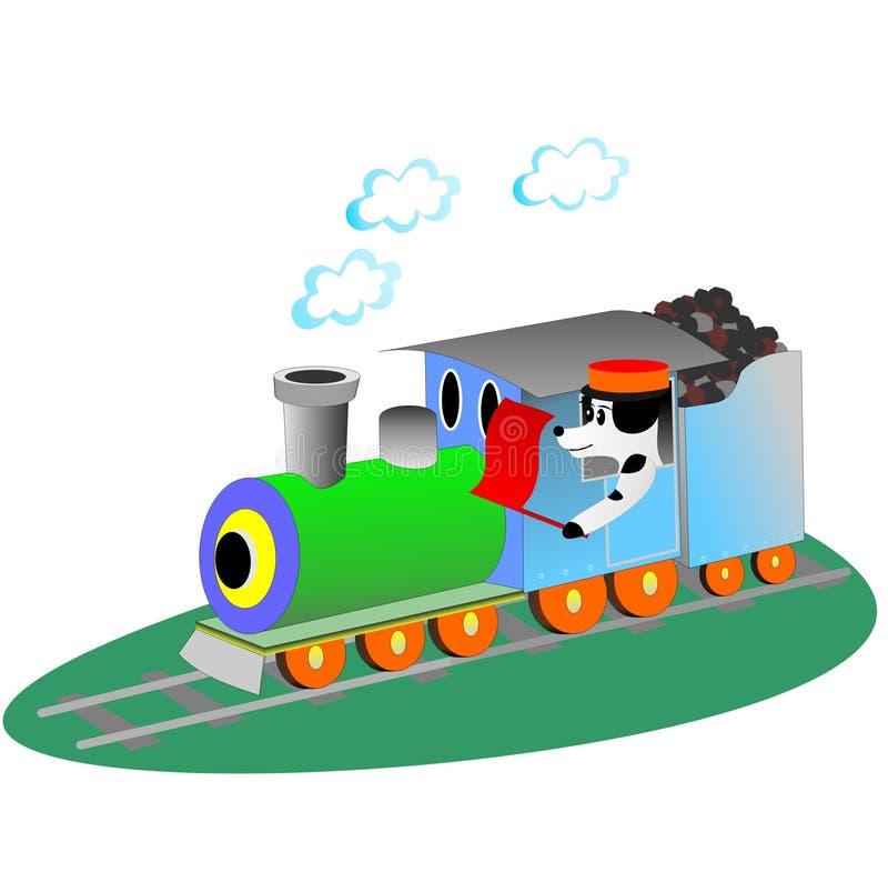 Hond en trein vector illustratie