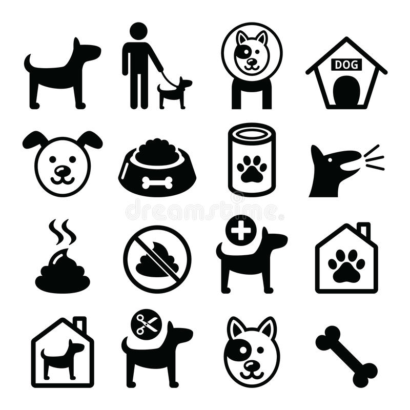 Hond, geplaatste huisdierenpictogrammen - licht, het voedsel van de hond, hondhotel door royalty-vrije illustratie