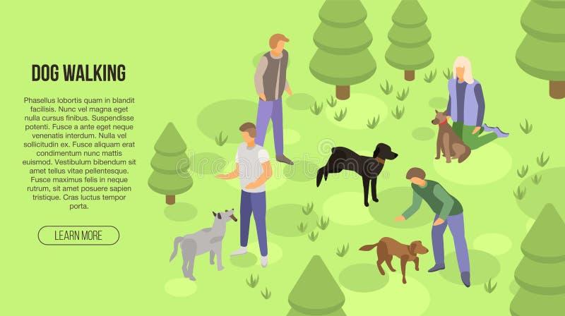 Hond het lopen conceptenbanner, isometrische stijl stock illustratie