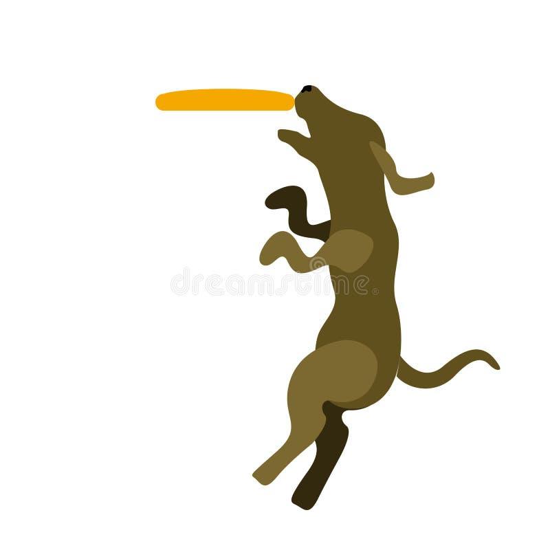 Hond het spelen met een frisbeepictogram stock illustratie
