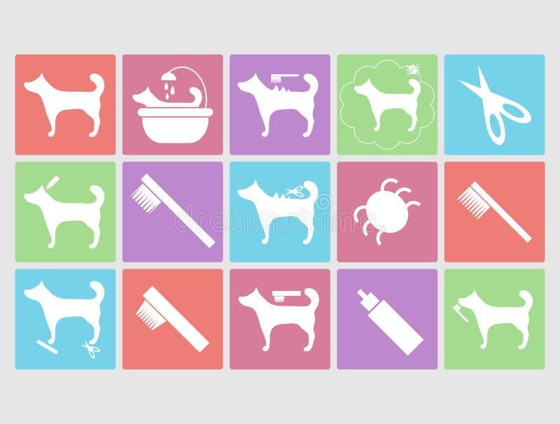 Hond het verzorgen geplaatste pictogrammen royalty-vrije illustratie