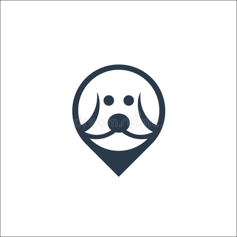 Hond hoofdpictogram Embleem vectormalplaatje stock illustratie
