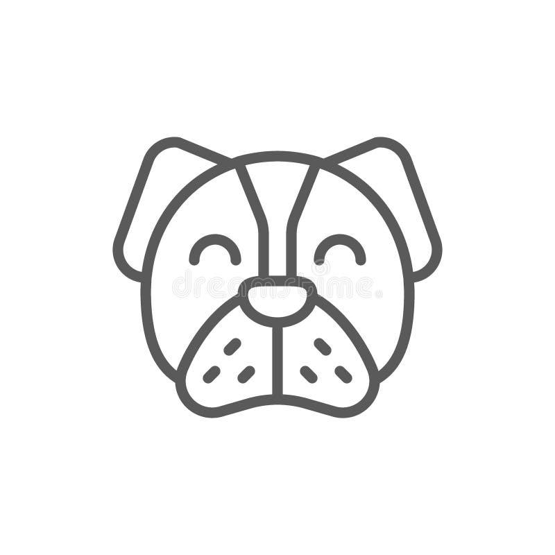 Hond, huisdier, dierlijk lijnpictogram stock illustratie