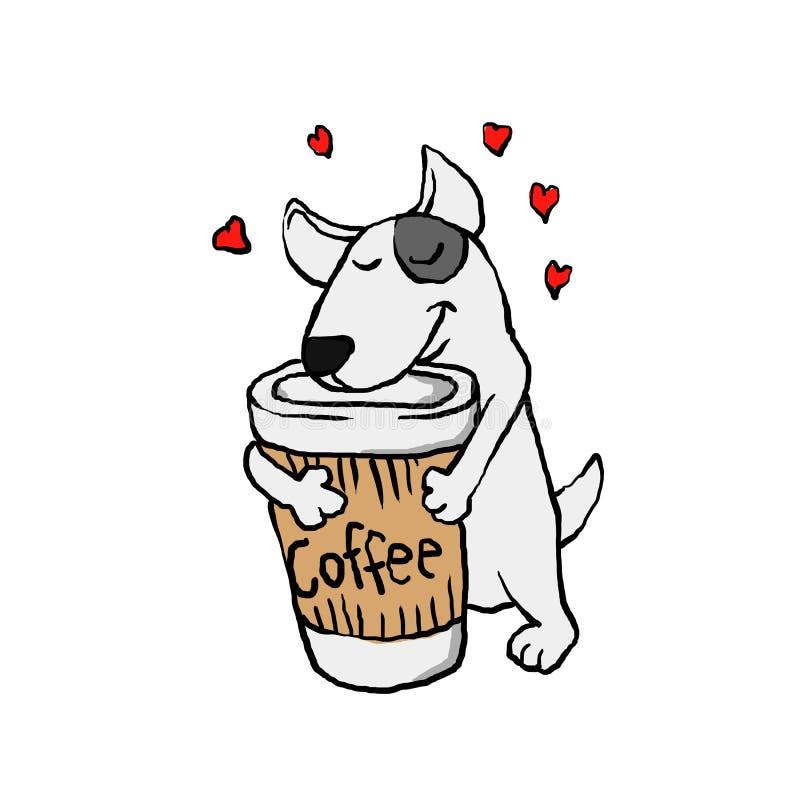 Hond i liefdekoffie stock illustratie