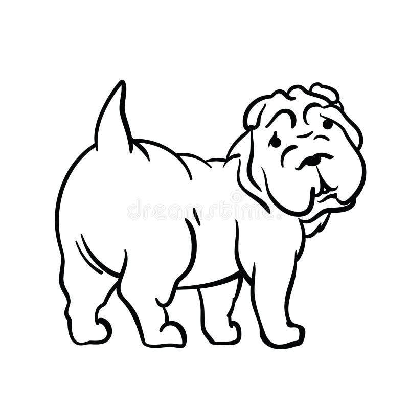 Hond in inktstijl die wordt getrokken stock fotografie