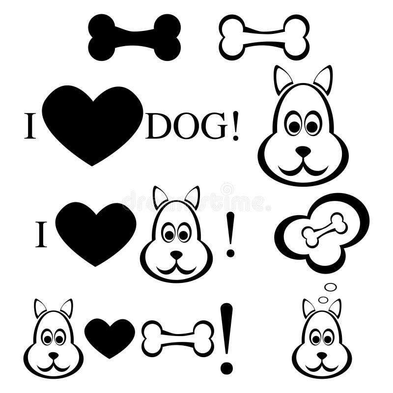 Hond met beenillustratie vector illustratie