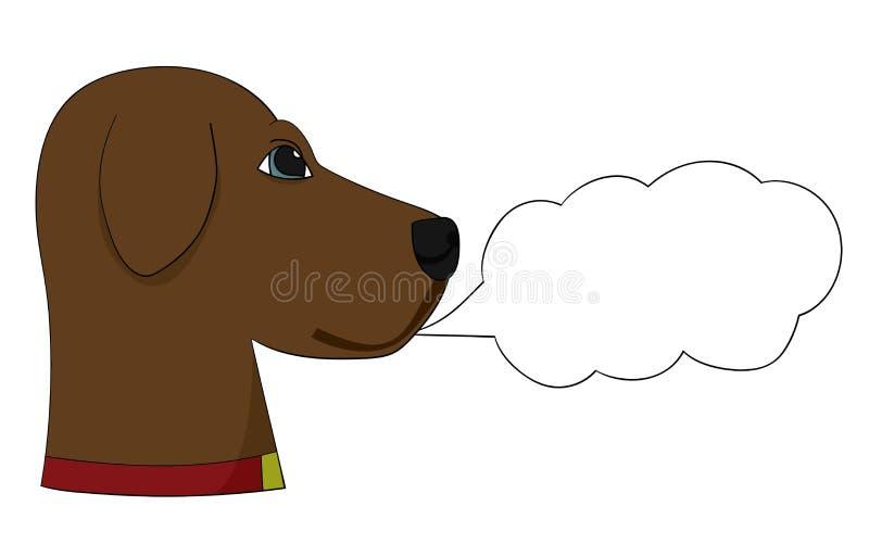 Hond met de Labrador Sprekend Beeldverhaal van de Toespraakbel stock fotografie
