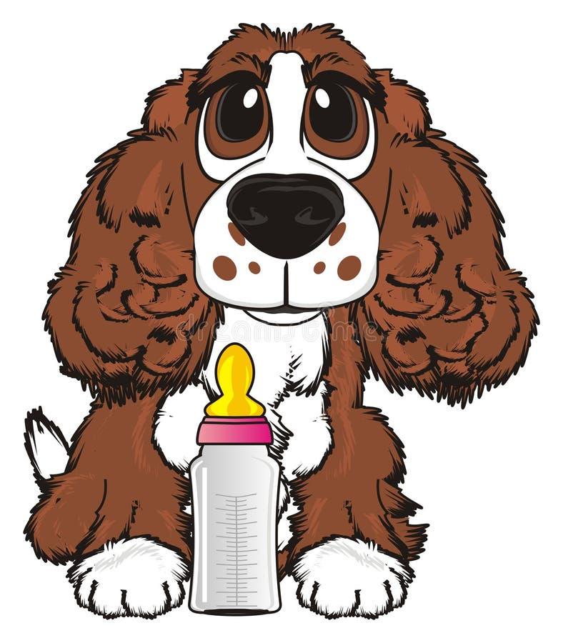 Hond met drank royalty-vrije illustratie