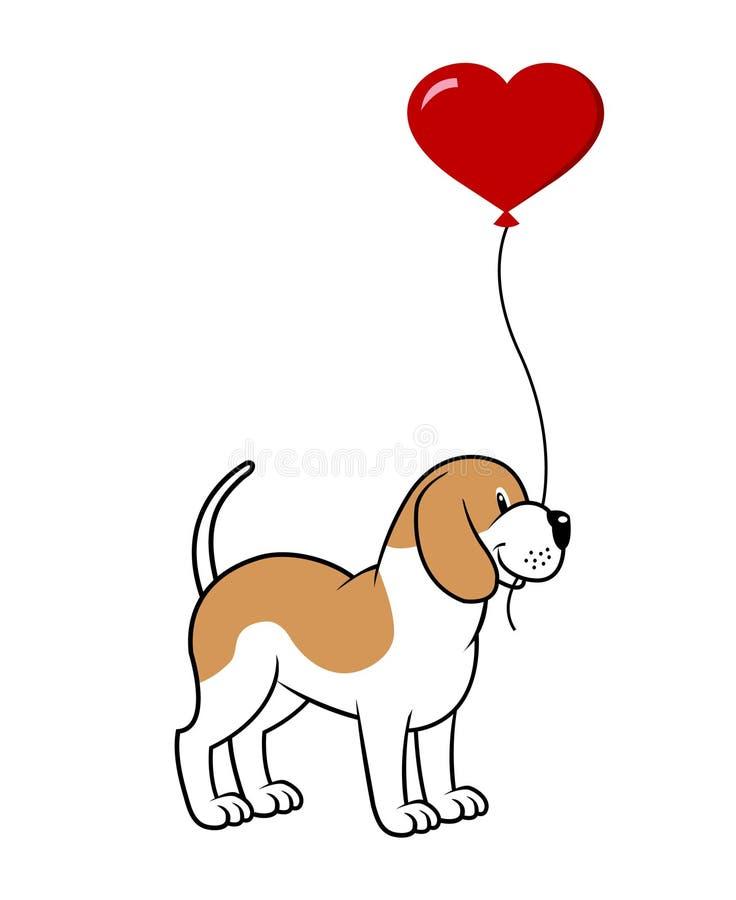 Hond met een ballon royalty-vrije illustratie